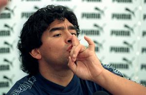 Maradona, pictured at a press conference in London in 1996, had a controversial relationship with the media (PA Archive)