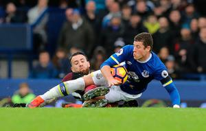 "Manchester City's Nicolas Otamendi (left) challenges Everton's Ross Barkley during the Premier League match at Goodison Park, Liverpool. PRESS ASSOCIATION Photo. Picture date: Sunday January 15, 2017. See PA story SOCCER Everton. Photo credit should read: Peter Byrne/PA Wire. RESTRICTIONS: EDITORIAL USE ONLY No use with unauthorised audio, video, data, fixture lists, club/league logos or ""live"" services. Online in-match use limited to 75 images, no video emulation. No use in betting, games or single club/league/player publications."