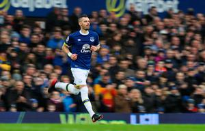 "Everton's Morgan Schneiderlin enters the game during the Premier League match at Goodison Park, Liverpool. PRESS ASSOCIATION Photo. Picture date: Sunday January 15, 2017. See PA story SOCCER Everton. Photo credit should read: Peter Byrne/PA Wire. RESTRICTIONS: EDITORIAL USE ONLY No use with unauthorised audio, video, data, fixture lists, club/league logos or ""live"" services. Online in-match use limited to 75 images, no video emulation. No use in betting, games or single club/league/player publications."