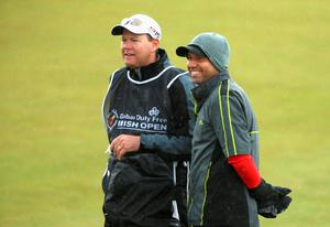 NEWCASTLE, NORTHERN IRELAND - MAY 27:  Sergio Garcia of Spain looks on with caddie Glen Murray during the Pro-Am round prior to the Irish Open at Royal County Down Golf Club on May 27, 2015 in Newcastle, Northern Ireland.  (Photo by Andrew Redington/Getty Images)