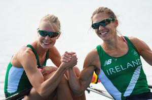 Claire Lambe (bow) of Ireland and Sinead Lynch of Ireland react following their Lightweight Women's Double Sculls Semi Final on Day 6 of the 2016 Rio Olympics at Lagoa Stadium on August 11, 2016 in Rio de Janeiro, Brazil.  (Photo by Matthias Hangst/Getty Images)
