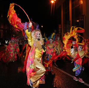 The Derry Banks of the Foyle Halloween Carnival in the UK City of Culture on Thursday night. Over 30,000 people packed the streets of Derry to enjoys the festivities followed by a spectacular fireworks display. Picture Margaret McLaughlin