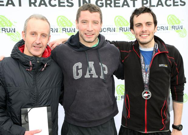 Mandatory Credit - Picture by Freddie Parkinson/Press Eye © Saturday 3rd December 2016 Belfast Telegraph Run Forest Run Loughgall. Loughgall Country Park, 11-14 Main Street, Loughgall, Armagh. 10k winners Terry McCollum (Second), Domhnall Murray (First) and Oliver Cook (Third).