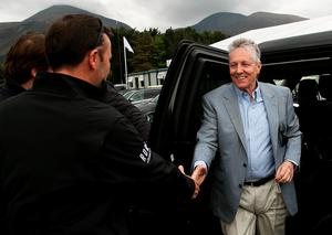 Northern Ireland's First Minister Peter Robinson arrives at the course after he was discharged from hospital yesterday, four days after suffering a suspected heart attack, during day three of the Dubai Duty Free Irish Open at Royal County Down Golf Club, Newcastle. PRESS ASSOCIATION Photo. Picture date: Saturday May 30, 2015. See PA story GOLF Irish. Photo credit should read: Brian Lawless/PA Wire. RESTRICTIONS: Editorial use only. No commercial use. No false commercial association. No video emulation. No manipulation of images.