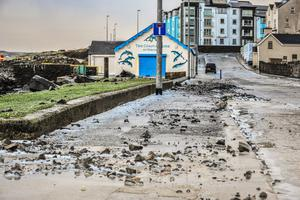 051213 PACEMAKER PRESS INTL. Parts of Portrush is closed off after tiles and parts of the building came off as the North Coast was battered by Gale Force winds. Hail Storms and strong winds still continue throughout the day. PHOTO: Kirth Ferris / Pacemaker