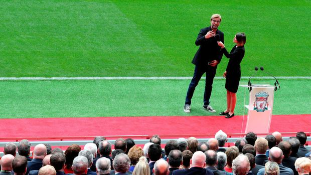 "Liverpool manager Jurgen Klopp is interviewed during the opening of the Anfield Main Stand, Liverpool. PRESS ASSOCIATION Photo. Picture date: Friday September 9, 2016. Photo credit should read: Peter Byrne/PA Wire. RESTRICTIONS: EDITORIAL USE ONLY No use with unauthorised audio, video, data, fixture lists, club/league logos or ""live"" services. Online in-match use limited to 75 images, no video emulation. No use in betting, games or single club/league/player publications."