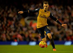 Arsenal's Welsh midfielder Aaron Ramsey controls the ball during the English Premier League football match between Liverpool and Arsenal at Anfield stadium in Liverpool, north-west England on January 13, 2016. AFP PHOTO / PAUL ELLIS RESTRICTED TO EDITORIAL USE. NO USE WITH UNAUTHORIZED AUDIO, VIDEO, DATA, FIXTURE LISTS, CLUB/LEAGUE LOGOS OR 'LIVE' SERVICES. ONLINE IN-MATCH USE LIMITED TO 75 IMAGES, NO VIDEO EMULATION. NO USE IN BETTING, GAMES OR SINGLE CLUB/LEAGUE/PLAYER PUBLICATIONS.PAUL ELLIS/AFP/Getty Images