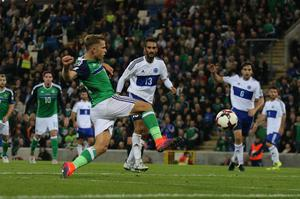 Pacemaker Belfast 8-10-16 Northern Ireland v San Marino - World Cup Qualifier Northern Ireland's Jamie Ward scores during this evenings game at the National Stadium, Belfast.  Photo by David Maginnis/Pacemaker Press