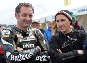 PACEMAKER,. BELFAST, 14/5/2013: Vauxhall KMR Kawasaki duo Michael Rutter and Jeremy McWilliams during the Vauxhall International North West 200 practice today. PICTURE BY STEPHEN DAVISON