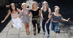 Krissy Bell,  Kaite Lynn, Francesca Eldred,  Gina Gilmartin and Emma Connolly at Victoria College in Belfast receive A* and A Grades Pic Colm Lenaghan/Pacemaker