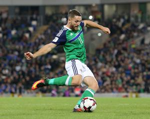 Pacemaker Belfast 8-10-16 Northern Ireland v San Marino - World Cup Qualifier Northern Ireland's Conor Washington gets a shot away during this evenings game at the National Stadium, Belfast.  Photo by David Maginnis/Pacemaker Press