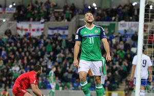 Pacemaker Belfast 8-10-16 Northern Ireland v San Marino - World Cup Qualifier Northern Ireland's Conor Washington and looks to the heavens after missing a chance during this evenings game at the National Stadium, Belfast.  Photo by David Maginnis/Pacemaker Press