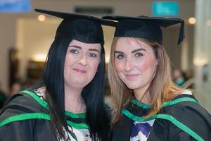 No Fee for Reproduction  Graduating from the Ulster University today with a degree in Social Work are, Margaret Rafferty from Belfast and Kathryn Vernin from Belfast. Picture Martin McKeown. Inpresspics.com. 20.06.15