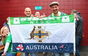 Picture - Kevin Scott / Presseye  Thursday 8th October 2015 - Belfast Northern Ireland - Northern Ireland vs Greece FANS  Pictured is Northern Ireland fans Lee Leckey and Jonny Wylie at Laverys bar in Belfast ahead of the Euro Qualifier at Windsor Park.   Picture - Kevin Scott / Presseye