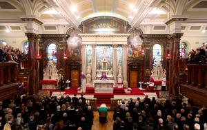The funeral of Northern Ireland's former deputy first minister and ex-IRA commander Martin McGuinness takes place at St Columba's Church Long Tower, in Londonderry.  Niall Carson/PA Wire