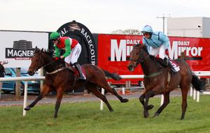 Northern Ireland Festival of Racing at Down Royal Racecourse - Day 1 Race 7 (4.15) Archie Watson Memorial INH Flat Race  R P McNamara on Ebazziyr pips S Crawford on Carnduff to the finishing  post