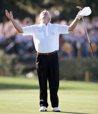 Moment of magic: Christy O'Connor Jnr salutes his 2-iron shot at the 1985 Ryder Cup