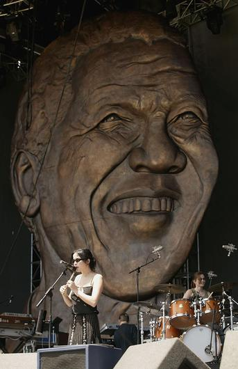 CAPE TOWN, SOUTH AFRICA - NOVEMBER 27:  Musician Andrea Corr of the Corrs practises on stage prior to the 46664 concert on November 27, 2003 in Cape Town, South Africa. The concert will take place on November 29th and will benefit the Nelson Mandela Foundation and the fight against AIDS in Africa. Artists performing will include Bono, Queen, Peter Gabriel, The Eurythmics, Beyonce, Youssou N'Dour, and may other internations and African musicians. It will be one of the biggest rock events ever staged in Africa and will also be the most widely distributed media event in history with a potential audience of more than 2 billion people in 166 countries.  (Photo by Getty Images) *** Local Caption *** Andrea Corr