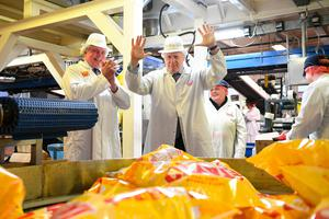Prime Minister Boris Johnson during a visit to Tayto Castle crisp factory, Tandragee, County Armagh, while on the General Election campaign trail. PA Photo. Picture date: Thursday November 7, 2019. See PA story POLITICS Election. Photo credit should read: Stefan Rousseau/PA Wire