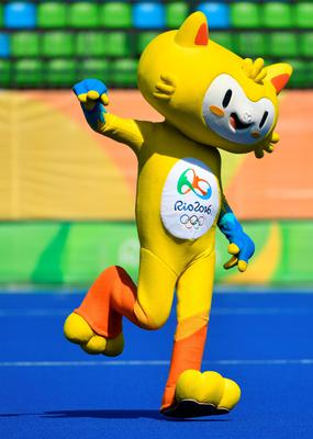 Vinicius, the mascot of the Olympic games dance on the pitch during the women's quarterfinal field hockey USA vs Germany match of the Rio 2016 Olympics Games at the Olympic Hockey Centre in Rio de Janeiro on August 15, 2016. / AFP PHOTO / Pascal GUYOTPASCAL GUYOT/AFP/Getty Images