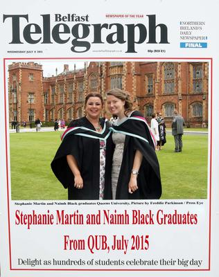 Mandatory Credit - Picture by Freddie Parkinson/Press Eye ? Wednesday 8th July 2015 Graduations Queen University Belfast. Stephanie Martin and Naimh Black graduated at Queens University Belfast in Civil Engineering.