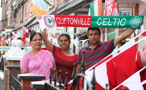 ?Press Eye Ltd Northern Ireland - 17th July 2013 Mandatory Credit - Picture by Darren Kidd /Presseye.com    Champions League, Cliftonville v Celtic.  Cliftonville v Celtic,  Champions League 2nd Qual, 1st Leg game at Solitude, Belfast. Fans ahead of the game. Padmaja, Tharum and Beena Tharum