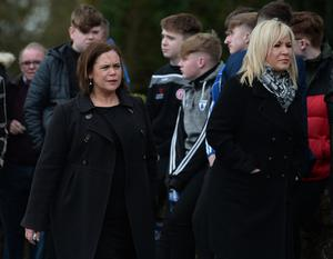 PACEMAKER BELFAST  22/03/2019 Sinn Fein's Michelle O'Neill and Mary Lou McDonald attend the funeral of  Conor Currie  in Edendork this morning. Conor and two others were killed in a tragic accident at the Greenvale Hotel on St Patricks night. Photo Colm Lenaghan/Pacemaker Press