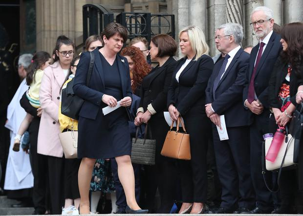 DUP leader Arlene Foster at the funeral and service of thanksgiving for the life of  journalist Lyra McKee