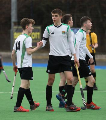 Sullivan Upper players, Connor Smyth, left and Michael Trimble celebrate after wining against RBAI during their Burney Cup Semi-Final at Instonians Hockey Club.  Photo by Peter Morrison