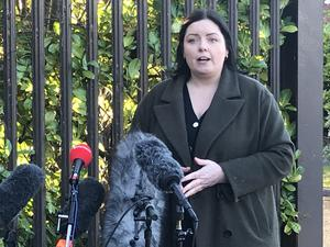 Communities Minister Deirdre Hargey (Sinn Fein) speaks to media in the Markets area of Belfast following a meeting of the Stormont Executive. (Rebecca Black/PA)