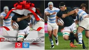 The Bulls tweeted a 'cryptic' image of their new signing (left) as they wished fans a Merry Christmas but it didn't take much detective work to reveal the hidden star's identity - Marcell Coetzee - in the Getty Images original (right).