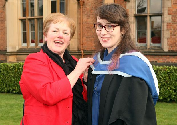 Mandatory Credit - Picture by Freddie Parkinson/Press Eye © Thursday 8th December 2016 Graduations take place at Queens University in Belfast. Briege O'Neill and her daughter Shannon.