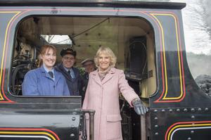 All aboard, Camilla speaks to the driver of a steam train at The Railway Station in Haworth Arthur Edwards/The Sun/PA)