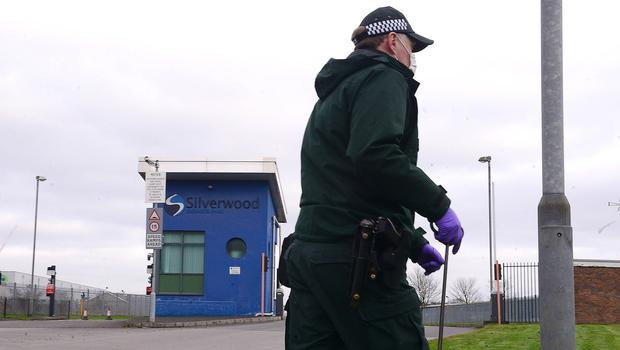PSNI pictured in the area of Silverwood Industrial Estate in Lurgan on Thursday. Picture By: Arthur Allison. Pacemaker Press.
