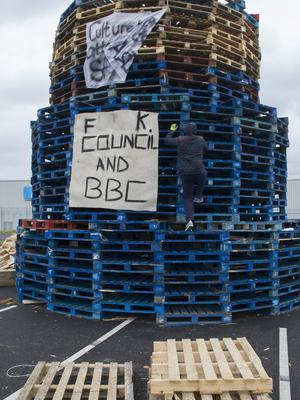 Belfast Telegraph  09-07-2017 East Belfast Bonfire at Avoniel Leisure Centre car park that has had an injunction by Belfast City Council  in place to stop wood from being dumped at the site and added to the bonfire.