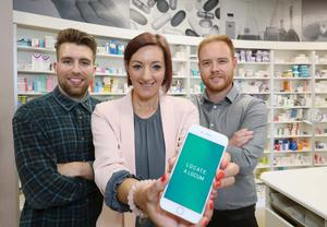 Moira Loughran from Invest NI with (left) Michael Budden and Jonathan Clarke from Locum Match