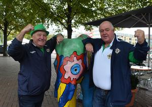 Northern Ireland Fans From L-R Davy Hamill and Tom Parke  arrive  in Hannover, ahead of Northern Ireland's World Cup Qualifier against Germany on Tuesday evening. Photo Colm Lenaghan/Pacemaker Press