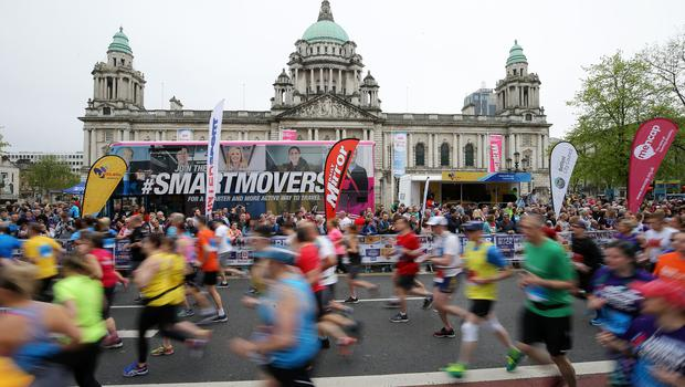Runners pictured at the marathon at Belfast City Hall. Photo by Kelvin Boyes / Press Eye