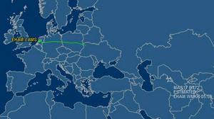 The flight path of Malaysia Airlines MH17 according to Flightaware.com
