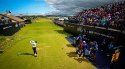Major hit: Tommy Fleetwood tees off at the first during his final round