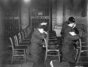 World War 2:  VE - Day.  Young Soldiers in St. Anne's Cathedral, Belfast.  (08/05/1945)