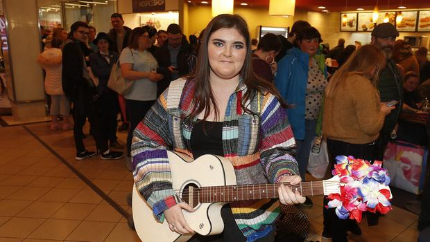 17-year-old Julie-Jane McCusker who sang ACDC's Highway to hell from Belfast at the Britain's Got Talent auditions in Castle Court. Picture Colm O'Reilly Sunday Life.