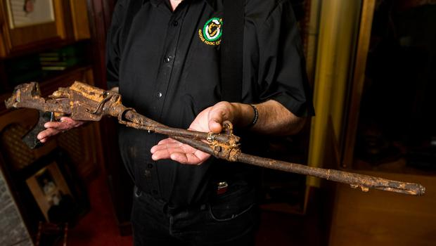 The mangled metal frame of an L1A1 Self-Loading Rifle thought to be that of a soldier involved in the Narrow Water atrocity: Liam McBurney/PA Wire