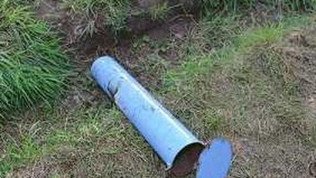 A suspected pipe bomb casing. Credit: PSNI