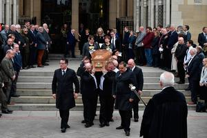 The coffin of journalist Lyra McKee is taken out of the church after her funeral  at St Anne's Cathedral on April 24, 2019 in Belfast, Northern Ireland.