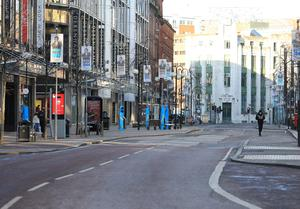 A deserted Royal Avenue in Belfast city centre. Photo by Peter Morrison