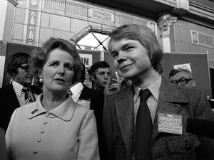 File photo dated 12/10/77 of Conservative party leader Margaret Thatcher with 16 year old Rother Valley schoolboy William Hague, after he received a standing ovation from delegates at the Tory party conference in Blackpool. PRESS ASSOCIATION Photo. Issue date: Monday April 8, 2013. Baroness Thatcher died this morning following a stroke, her spokesman Lord Bell said. See PA story DEATH Thatcher. Photo credit should read: PA/PA Wire