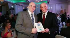 Terry McCorran and Martin McGuinness at the Sunday Life Spirit of Northern Ireland Awards sponsored by Supersavers at the Culloden Estate & Spa resort in Holywood.