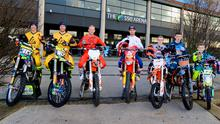 Ready to roar: at yesterday's Arenacross launch at Belfast's SSE Arena are (from left) Jordan Keogh (Duleek, Co Meath), Stuart Edmonds (Dublin), Martin Barr (Doagh), Graeme Irwin (Carrickfergus), Lewis Spratt (Omagh), Charley Irwin (Ballyclare) and Jordan Kinsella (Dublin)