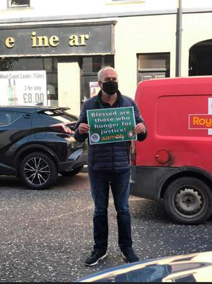 Colin Duffy at yesterday's whiteline picket in Lurgan in support of republican prisoners.